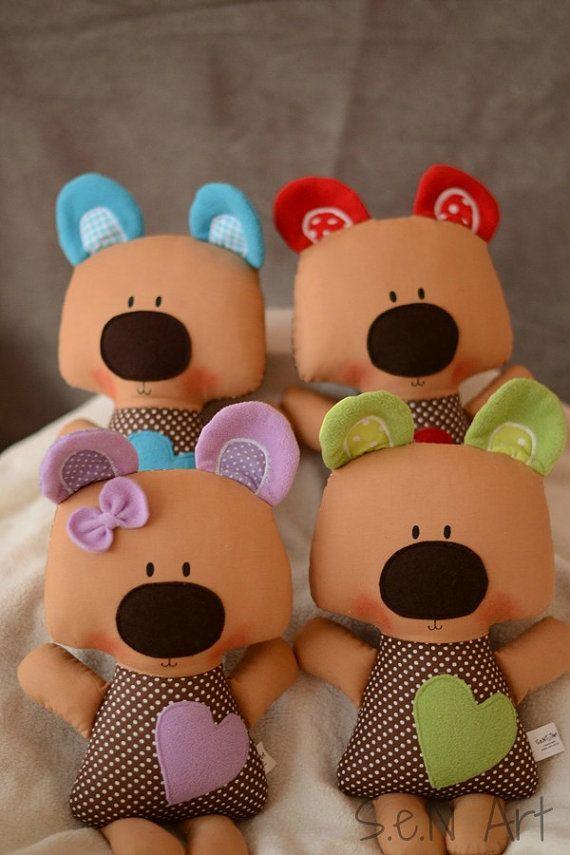 Handmade Fabric Teddy Bear with Heart Plush teddy soft by SenArt1