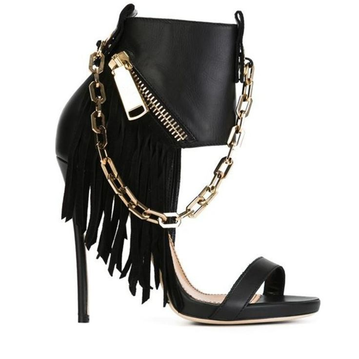 2016 New Metallic Chains Black Fringed Stiletto Gladiator Sandals Women High Heels Sexy Party Wedding Shoes Woman Ankle Boots