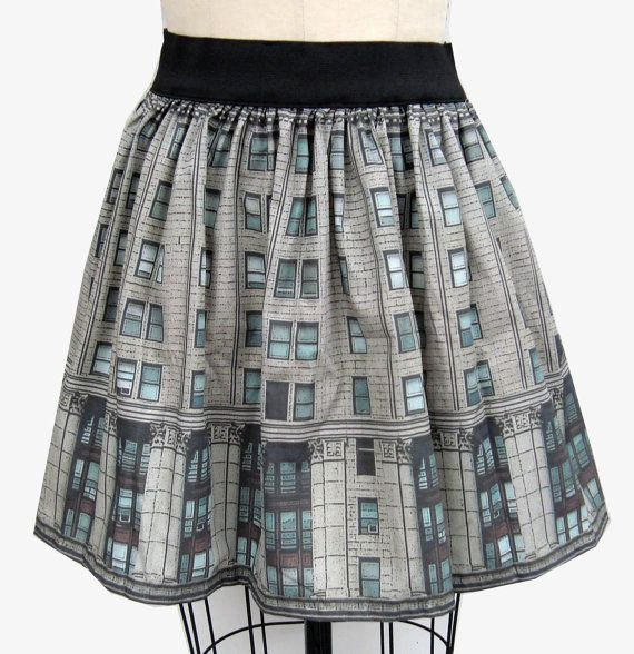 City Building Full Skirt by GoChaseRabbits on Etsy, $45.99