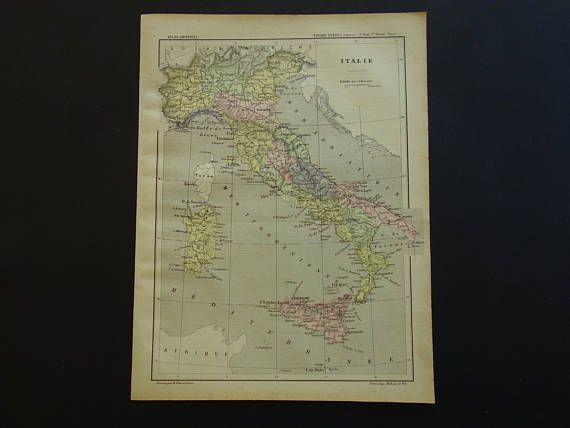 ITALY vintage maps 1896 original antique hand colored print of