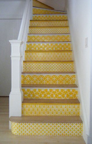 Yellow decorated stairs -pretty neat