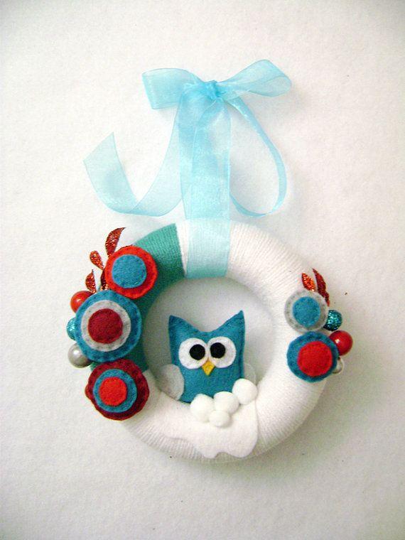 Owl Felted Wreath