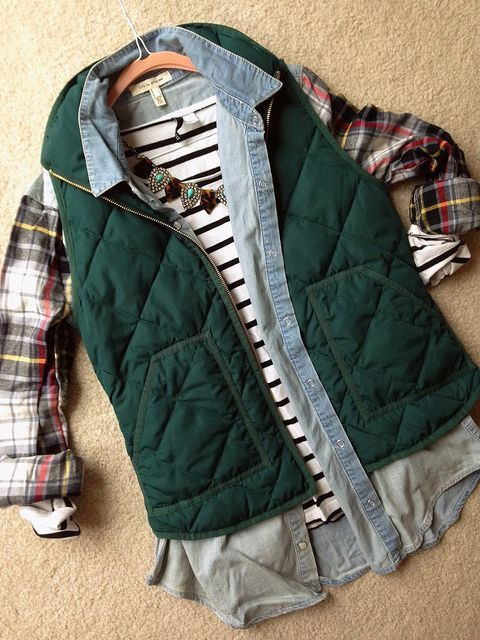 Fall color combo - hunter green vest, plaid and navy stripes!  Statement necklace to dress it up! Get your own personal stylist today with Stitch Fix! Stitch Fix Fall 2016. Stitch Fix Winter 2016.