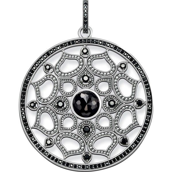 Thomas Sabo Mandala Amulet sterling silver pendant ($285) ❤ liked on Polyvore featuring jewelry, pendants, sterling silver jewelry, sterling silver disc pendant, disc pendant, charm jewelry and pave pendant