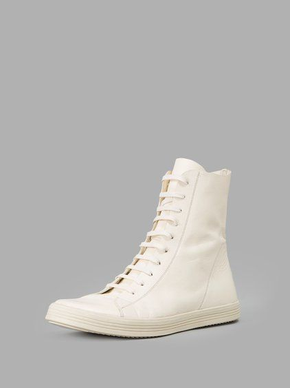 RICK OWENS RICK OWENS MEN'S WHITE HIGH TOP SNEAKERS. #rickowens #shoes #sneakers