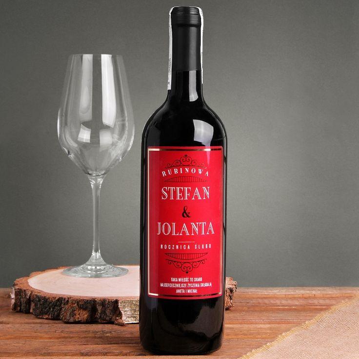 Personalizowane Czerwone Wino RUBINOWA ROCZNICA