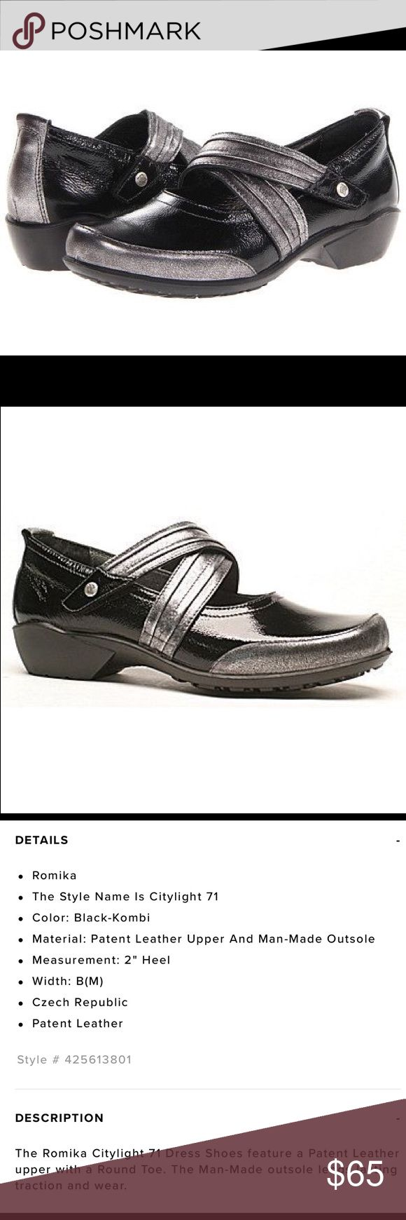 """Romika Citylight 71 Mary Jane Black-Kombi NIB This is just a gorgeous and super comfortable shoe from Romika!    🎄Features a patent leather upper in black and silver with a Velcro strap for a secure fit.   ⭐️Mary Jane Round Toe Styling.   🎄2"""" heel  🎄New in box, this pair has been tried on but never worn.  🎄A comfortable shoe, perfect for holiday dressing. Romika Shoes Wedges"""