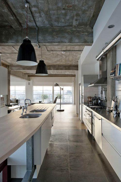 Beautiful concrete! #concrete #industrial #interiordesign #home #living #grey #walls #interior