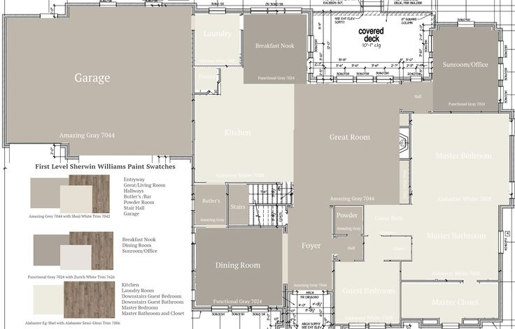 First Level Floor Plan Color Map Sherwin Williams Paint