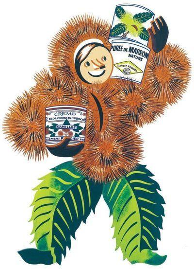 """""""Marono"""", le personnage dessiné par Bellanger et qui figure sur les boîtes de Crème de Marrons de l'Ardèche depuis 1938."""
