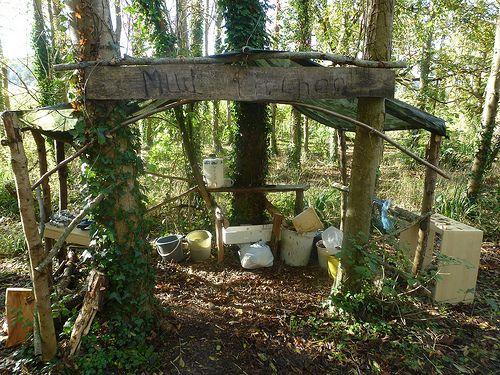 Mud kitchen at Hallr Woods, Somerset.