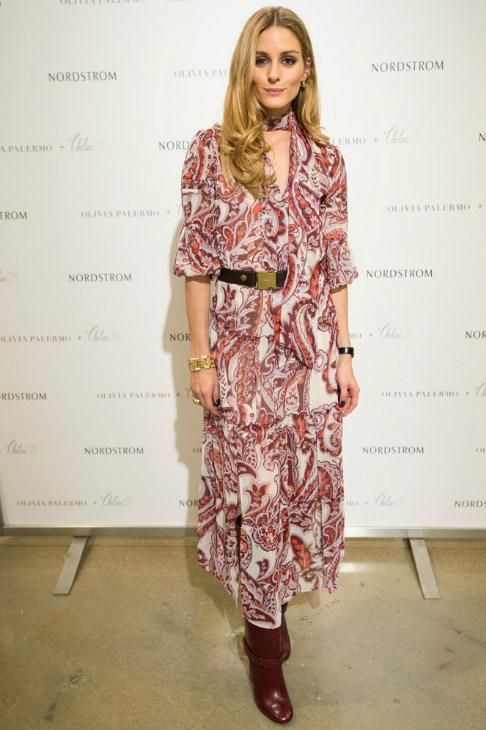 Olivia Palermo wearing Chelsea28 + Olivia Palermo Dress and Tory Burch Sarava Boots in Red Agate