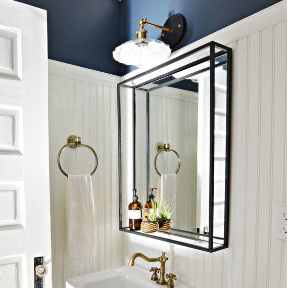 Bathroom Shelf Mirror Modern Industrial Black Steel Metal Framed Bathroom Mirror With Shelf Custom Handmade To Order Bathroom Mirror With Shelf Framed Bathroom Mirror Mirror With Shelf