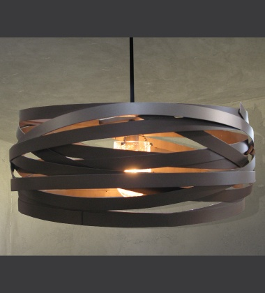 "Lightspan - Ribbons of iron wrapped in a drum shape, surrounding a blown ""crackle"" glass shade and a clear Edison filament lamp."