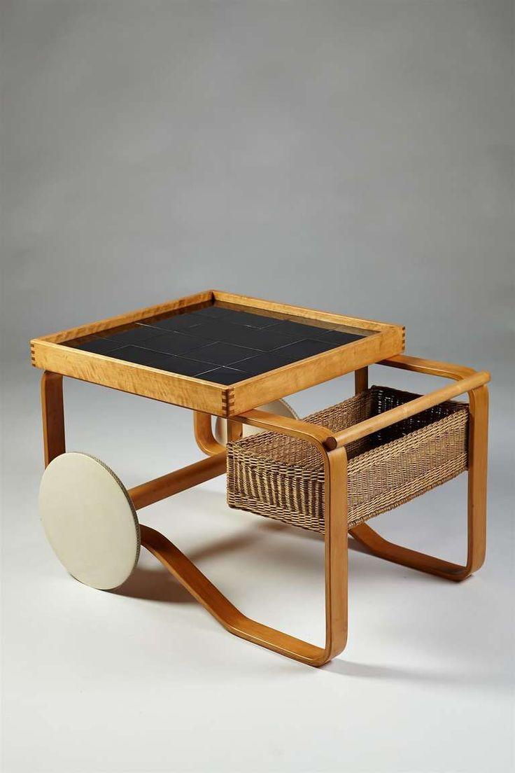 Alvar Aalto: Birch, ceramic tile and wicker bar cart for Artek, 1940s.