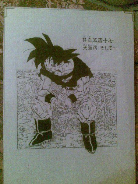 Díbujo realizado en tela, Goku después de vender a Boo.