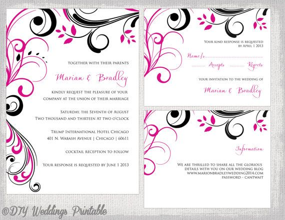 Wedding invitation template Begonia pink & by diyweddingsprintable, $22.00
