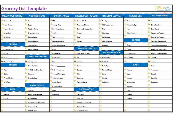 Grocery list template (Categorized)