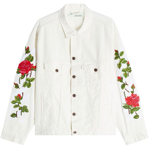 Off White Printed Ecru Denim Jacket (4,070 MYR) ❤ liked on Polyvore featuring outerwear, jackets, coats, white, white denim jacket, white jacket, oversized denim jacket, jean jacket and oversized jackets