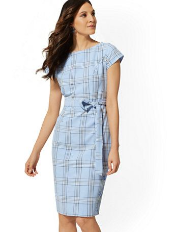 cec388c6a97 Shop Blue Plaid Belted Sheath Dress. Find your perfect size online at the best  price at New York   Company.