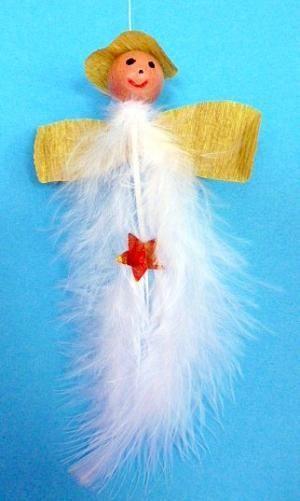 Engel aus Federn und Holzperlen -  Weihnachten-basteln - Meine Enkel und ich