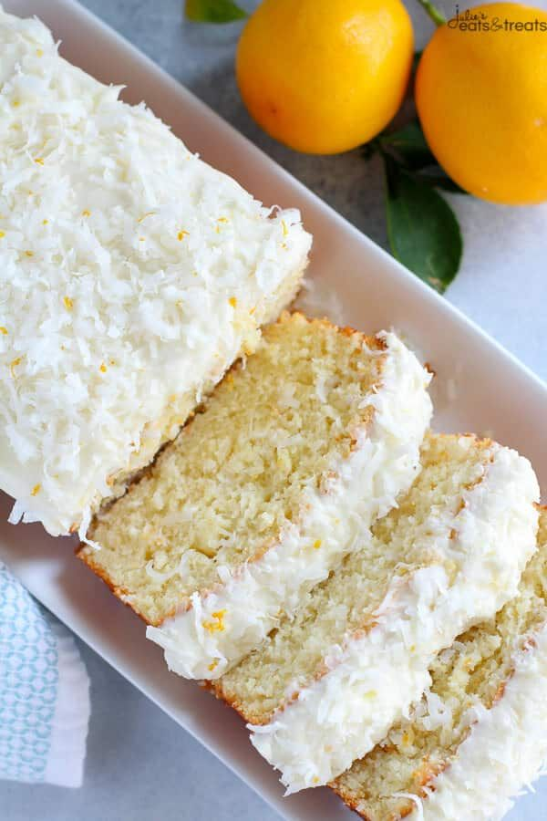 Lemon Coconut Cake ~ Moist, Flavorful Homemade Cake Topped with Lemon and Coconut Cream Cheese Frosting! ~ https://www.julieseatsandtreats.com