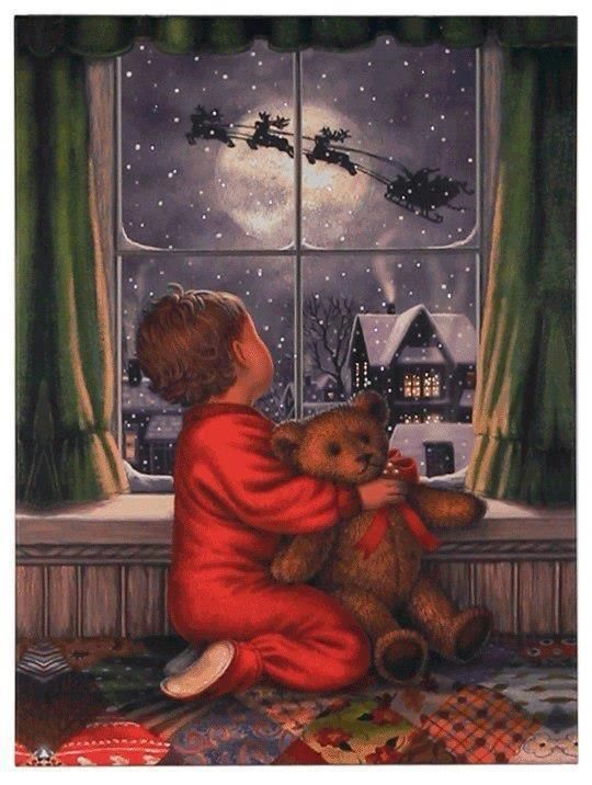 Vintage card with little boy watching Santa's sleigh through window