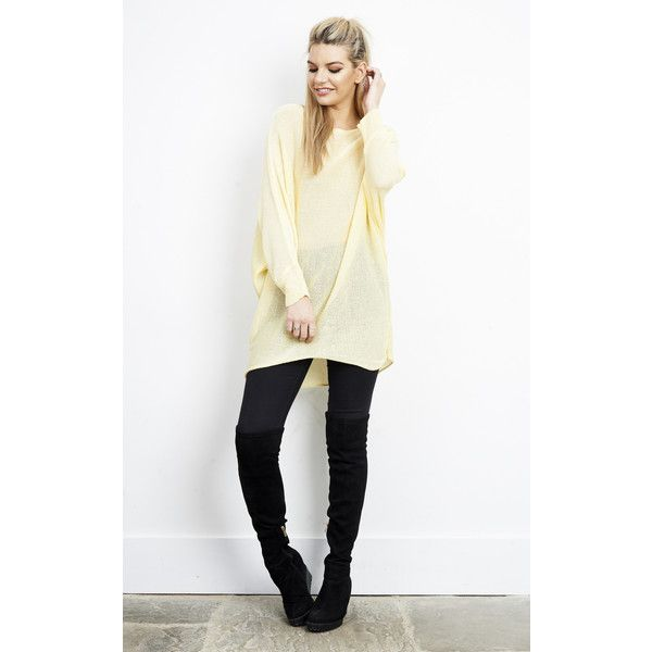 Aftershock London Yellow Oversized Batwing Knit Cardigan (£23) ❤ liked on Polyvore featuring tops, cardigans, yellow, over sized cardigan, white batwing top, yellow knit cardigan, knit cardigan and yellow cardigan