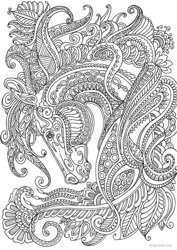 Graceful Horse Printable Adult Coloring Page From Favoreads