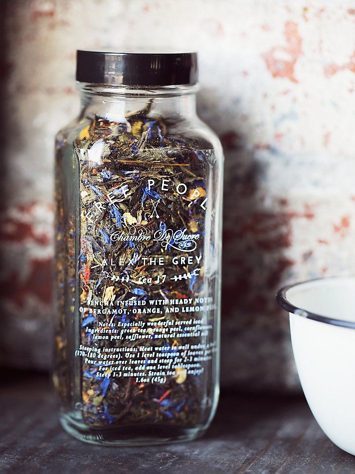 Aromatic loose tea blends, packaged beautifully in reusable glass bottles.