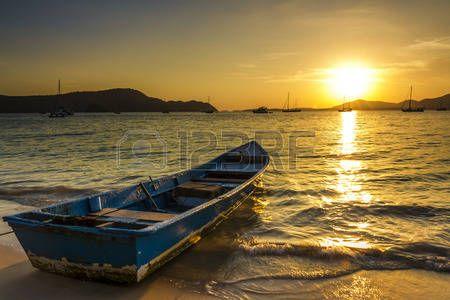 panoramic beach: Toward the Sun Stock Photo