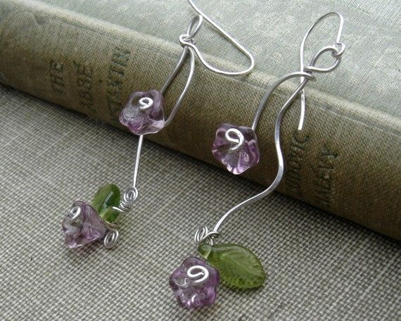 Vining Lilac Purple Flowers and Tendrils Earrings - Glass Flower Earrings - Spring Dangle, Sterling Silver Wire Jewelry