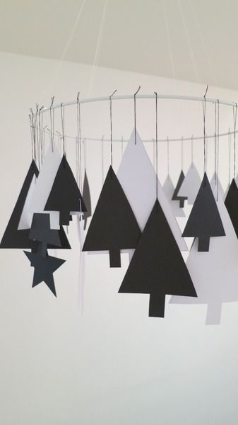 Weihnachtsdeko - Kranz, Mobile aus Papier mit Weihnachtsbäumchen - ein…