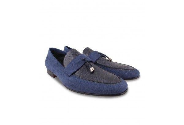 Moreschi Mens Navy Blue Leather & Ostrich Slipon Shoes