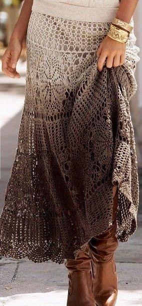 idea - dip dyed crochet skirt - x