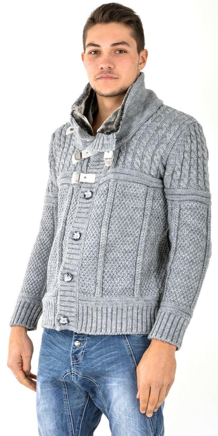 Gilet homme en laine & fourrure gris