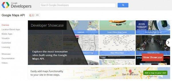 Google Maps API Developers consigue su página propia dentro de los servicios de Google.