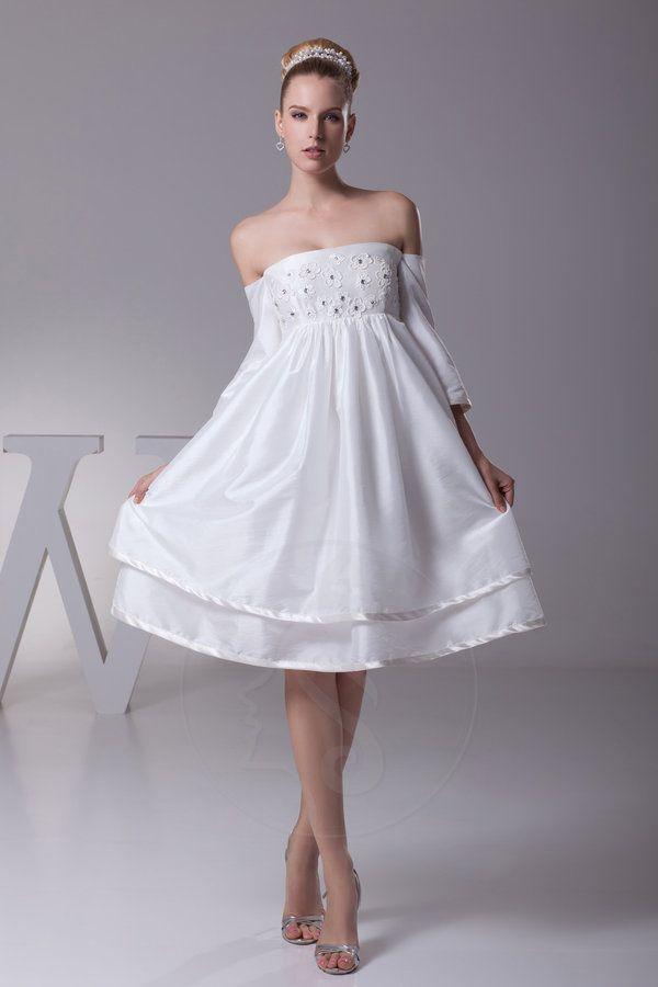 Robe de mariée avec zip avec gradins taffetas d'epaule ecrite genou