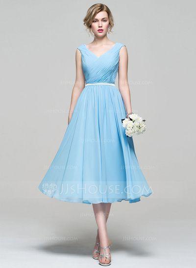 A-Line/Princess V-neck Tea-Length Chiffon Bridesmaid Dress With Ruffle (007074187) #jjshouse