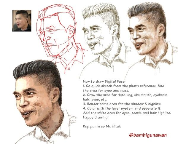This is step by step how to draw Digital drawing face, thank you for mr. Pitak from Thailand. #asianmale #drawingface #caricature #gambar #sketsa #sketch #digitalart #digital #doodle #doodling #drawing #karyamasbambi #photoshop #arts #artwork