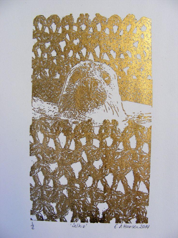 E A Hansen, Fair Isles Suite detail, Selkie, 2014, digital print with gold leaf