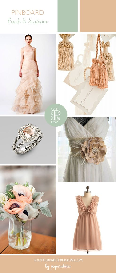 Pretty Peach & Seafoam Wedding pinboard by Paperwhites, a stationery boutique