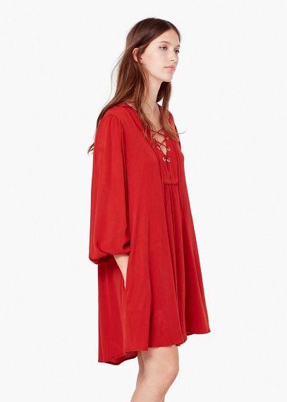 Sukienka ze sznurkiem w pasie | MANGO