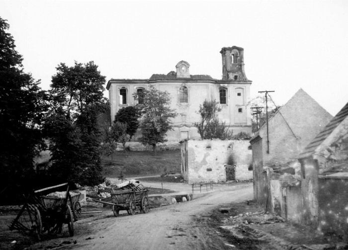 View of the center of the burned Lidice with St. Martin church on 11th June 1942. Unique picture taken secretly by Czech policeman Josef Sýkora.