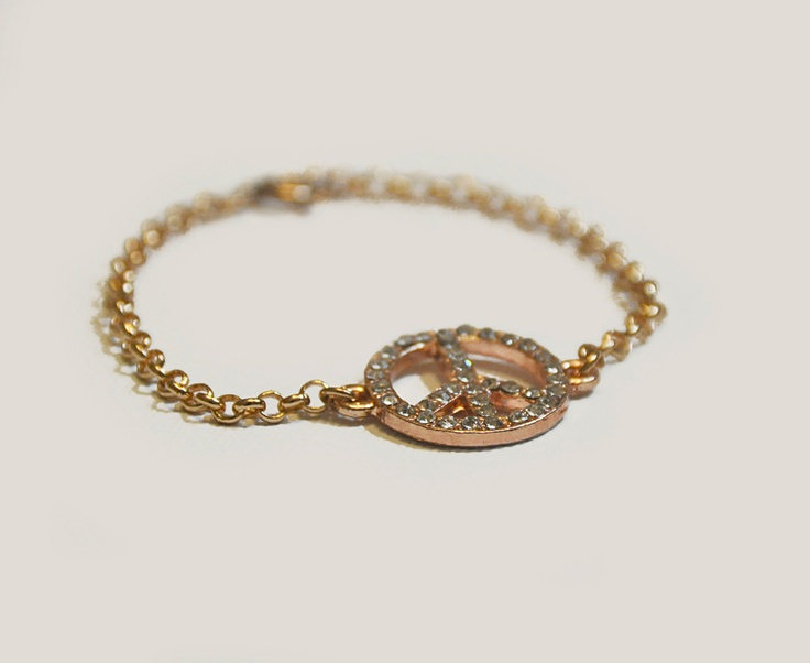 Rhinestone Peace Bracelet in Rose Gold Chain by amourose on Etsy, $14.99