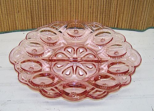 Moon And Stars Pink Oval Egg Plate Vintage Glass