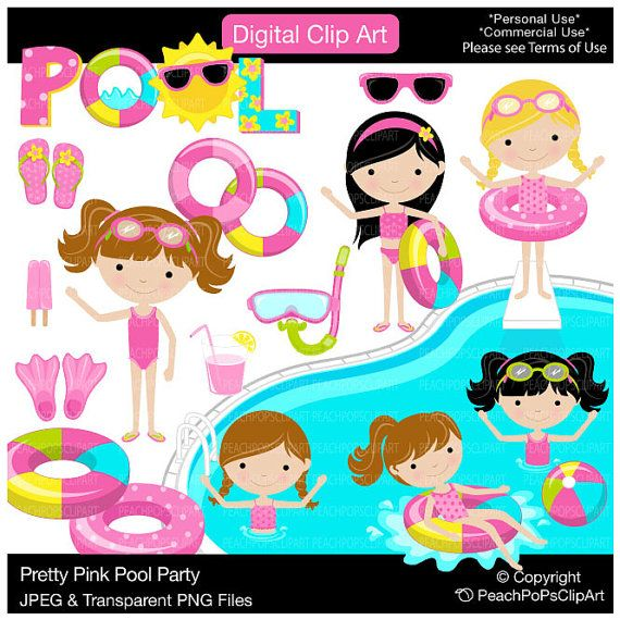 girls pool party clipart digital clip art swim - Pretty Pink Pool Party - Digital Clip Art - Personal Commercial Use on Etsy, $5.00