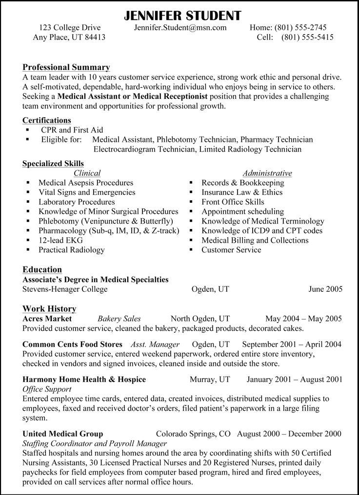 7 best Resumes images on Pinterest Resume, Resume examples and - entry level phlebotomy resume