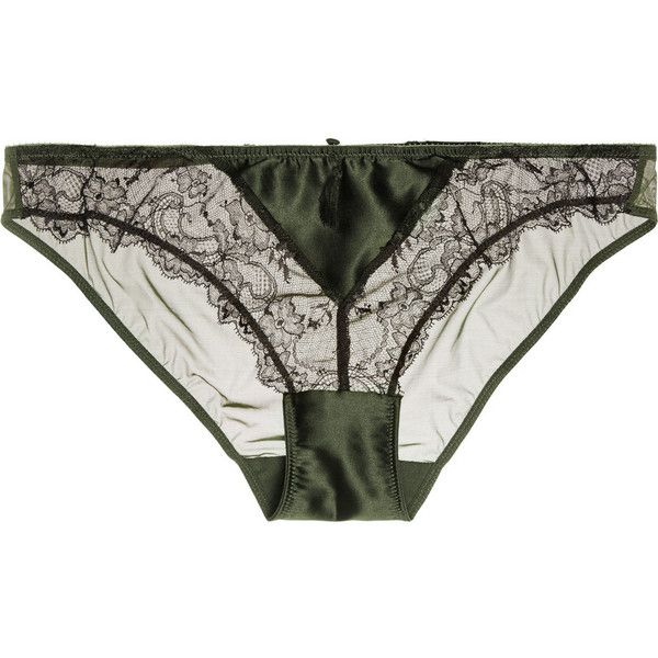Heidi Klum Intimates Delicatesse low-rise lace-trimmed stretch-silk satin and tulle briefs featuring polyvore, women's fashion, clothing, intimates, panties, lingerie, underwear, army green, underwear lingerie, satin chemise, underwear thong, suspender belt and lace trim chemise