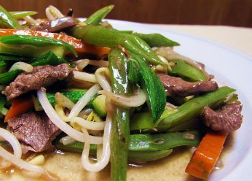 Chapsui especial, verduras, Carne, Pollo